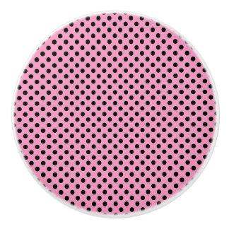 Botón de cerámica/fondo Punto-Rosado de la polca Pomo De Cerámica