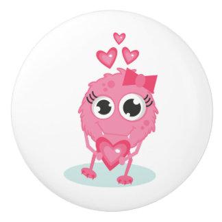 Botón de cerámica/monstruo lindo con los corazones pomo de cerámica