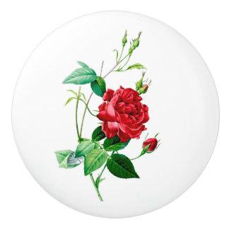 Botón de cerámica rojo color de rosa pomo de cerámica