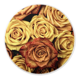 Botón de cerámica romántico del rosa amarillo pomo de cerámica