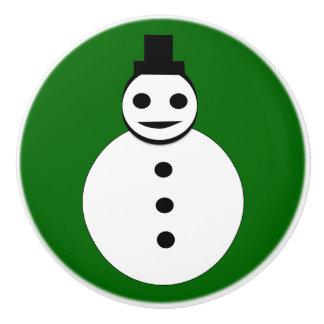 Botón de cerámica sonriente del muñeco de nieve pomo de cerámica