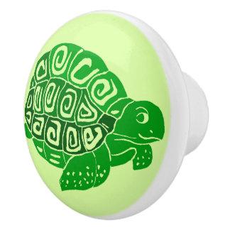 Botón de cerámica verde claro de la tortuga verde pomo de cerámica