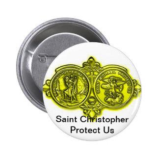Botón de Christopher de santo Pin Redondo De 2 Pulgadas