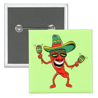 Botón de Cinco de Mayo de la pimienta del baile Pin Cuadrado