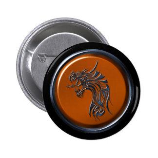 Botón de cobre del dragón del ébano pin redondo de 2 pulgadas