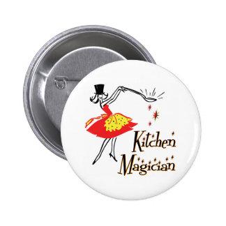 Botón de cocinar retro del arte del mago de la coc