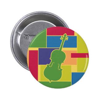 Botón de Colorblocks del violoncelo Pin Redondo De 2 Pulgadas