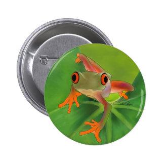 Botón de Crazy Frog con el fondo Pin Redondo De 2 Pulgadas