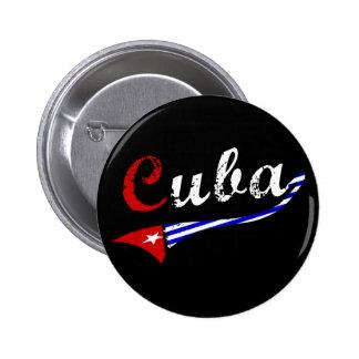 Botón de Cuba con colores cubanos de la bandera Pin Redondo De 2 Pulgadas