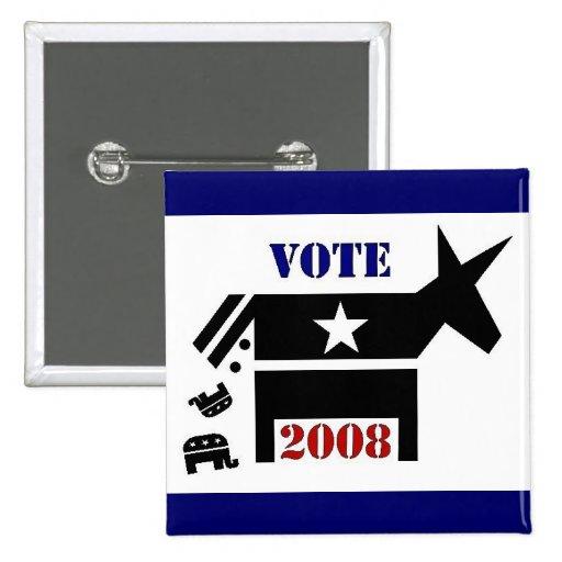 BOTÓN DE DEMÓCRATA DEL VOTO EN 2008 PIN CUADRADO