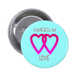 Botón de dos corazones pin redondo de 2 pulgadas