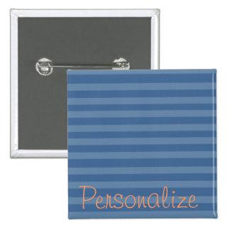 Botón de dos rayas azules del tono pin cuadrado