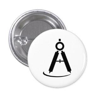Botón de elaboración del pictograma del compás pin redondo de 1 pulgada