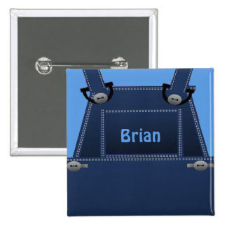 Botón de encargo azul de los guardapolvos pin cuadrado