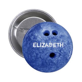 Botón de encargo de la bola de los bolos azules pin