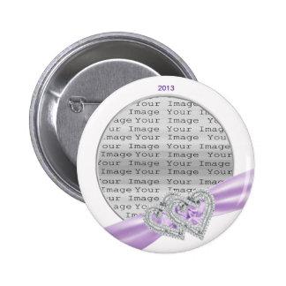 Botón de encargo de la cinta de la lavanda de los  pin redondo de 2 pulgadas