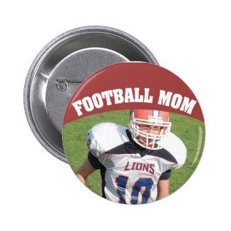 Botón de encargo de la foto de la mamá del fútbol pin redondo de 2 pulgadas