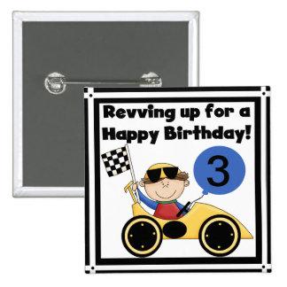 Botón de encargo del cumpleaños del coche de compe pin cuadrado