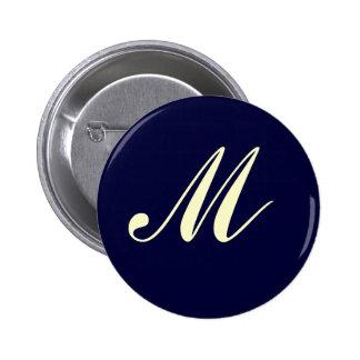 Botón de encargo del monograma pin redondo de 2 pulgadas