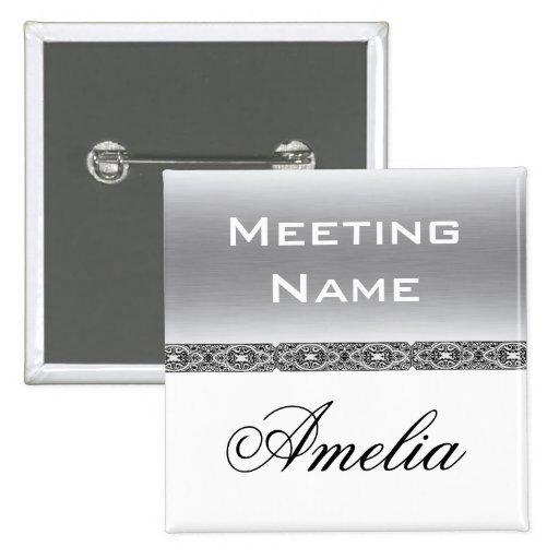 Botón de encargo del nombre de la reunión pin cuadrado