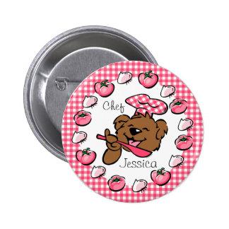 Botón de encargo del pequeño cocinero del oso (Rnd