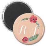 Botón de encargo floral del texto imán redondo 5 cm