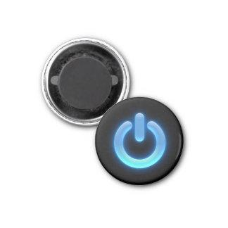 Botón de encendido (azul) imán redondo 3 cm