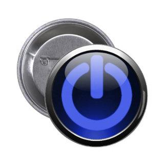 Botón de encendido azul marino pin redondo de 2 pulgadas