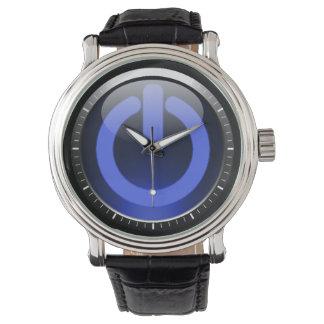 Botón de encendido azul marino relojes