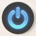 Botón de encendido (azul) posavasos para bebidas