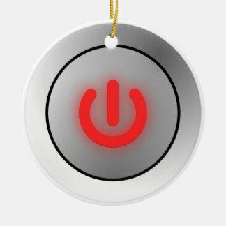 Botón de encendido - blanco - apagado adorno navideño redondo de cerámica