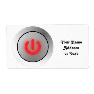 Botón de encendido - blanco - apagado etiquetas de envío