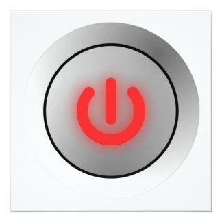 """Botón de encendido - blanco - apagado invitación 5.25"""" x 5.25"""""""
