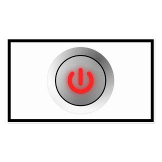 Botón de encendido - blanco - apagado tarjetas de negocios