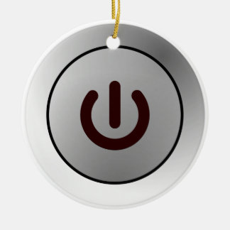 Botón de encendido - blanco - encendido adorno navideño redondo de cerámica
