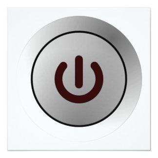 Botón de encendido - blanco - encendido invitación 13,3 cm x 13,3cm