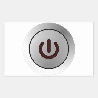 Botón de encendido - blanco - encendido rectangular pegatina