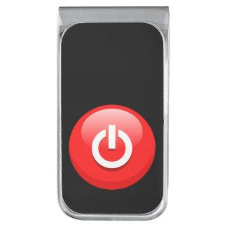 Botón de encendido clip para billetes plateado