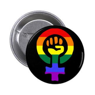 Botón de encendido de la mujer de la bandera del