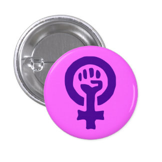 Botón de encendido de la mujer pin redondo de 1 pulgada