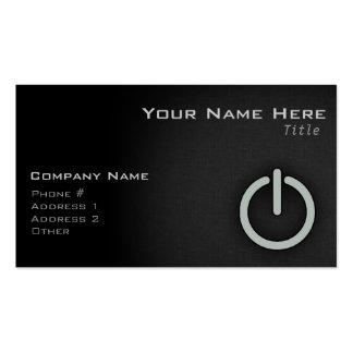 Botón de encendido del gris de ceniza tarjetas de visita