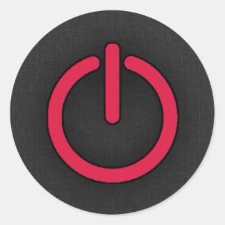 Botón de encendido del rojo carmesí pegatina redonda