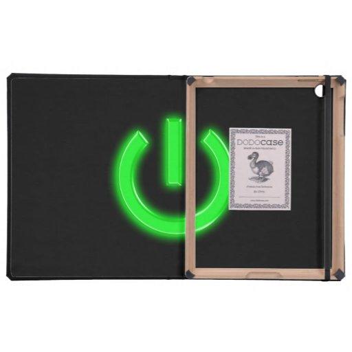 Botón de encendido en flor verde de neón iPad cobertura