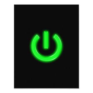 Botón de encendido en flor verde de neón comunicados personalizados