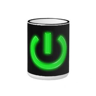 Botón de encendido en flor verde de neón taza