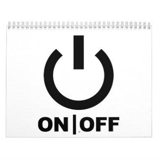 Botón de encendido encendido apagado calendarios de pared