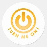 Botón de encendido - gíreme etiqueta redonda