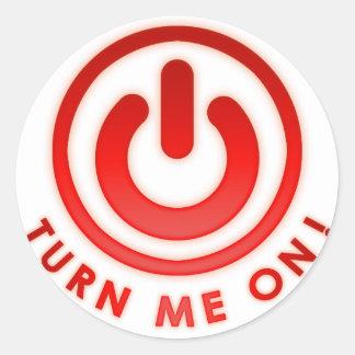 Botón de encendido - gíreme pegatinas redondas