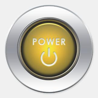 Botón de encendido etiqueta redonda