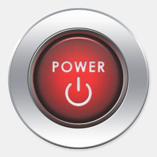 Botón de encendido pegatina redonda